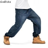Mens hip hop jeans men baggy jeans denim pants male streetwear casual loose jeans rap Skateboard trousers big size 30 46