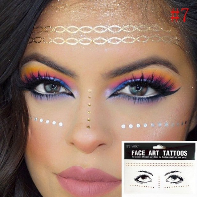 1b7f908538e6a 1pack Flash tattoo Waterproof wave necklace pattern Freckles Gold Face art  Tattoo Body Art Stickers eye