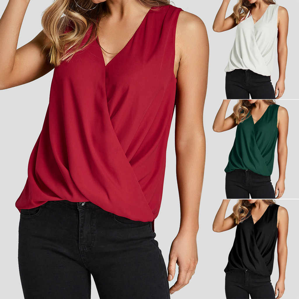 Summer ladies solid color elegant vest shirt top 2019 female solid color V-neck sleeveless overlapping casual vest canottiera