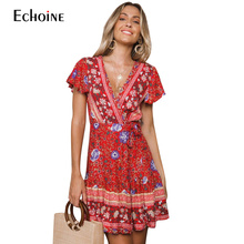 2019 Hot High Summer New Quality Womens Sexy Casual Waist Bohemia Print V-Neck National Style Midi Dress Women
