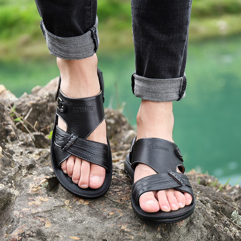 2019 comfortable casual men 39 s sandals high quality leather casual beach shoes leather open toe sandals and slippers men in Men 39 s Sandals from Shoes
