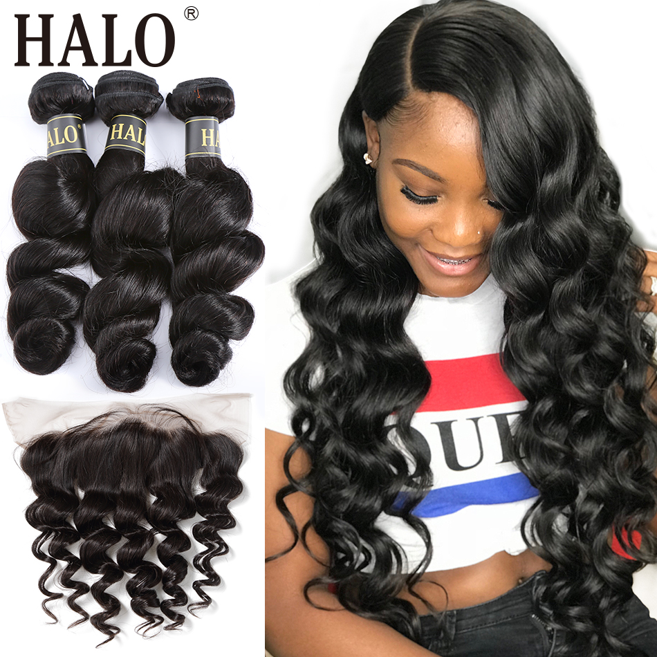 Halo Brazilian Loose Wave M Remy Lace Frontal Closure 13X4 Free Part Pre Preplucked With 3/4  Bundles 100% Human Virgin Hair