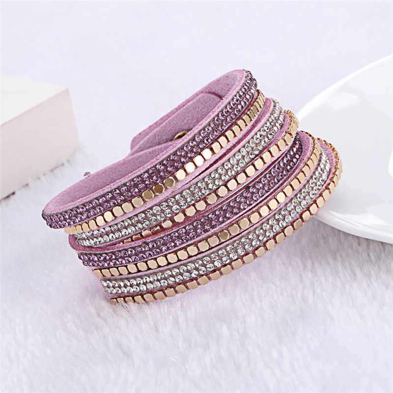 Kejialai skórzana flanelowa dwa kółka Hot symulowane Wrap bransoletka z kryształem dla kobiet etniczne Charm Rope Chain KJL032