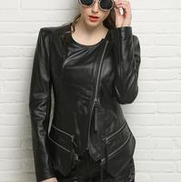 Round Collar Sheepskin Coats Motorcycle Womens Genuine Leather Jacket Women Jaqueta De Couro Motoqueiro Spring And