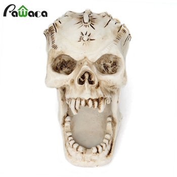 Resin Craft Skull Head Jewellery Box Desktop Storage Box Container Sculpture Ornament Pencil Pen Holder Desktop Home Decoration