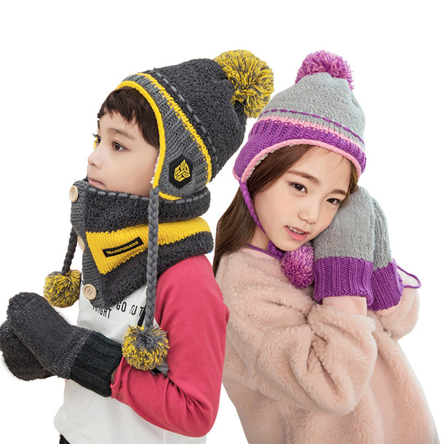 b9d196a5e9ca1 Children Fashion Hats Scarf GlovesThree - piece Warm Autumn Winter Boys  Girls Baby Thick Caps Collars Sets Tide Kids Beanies