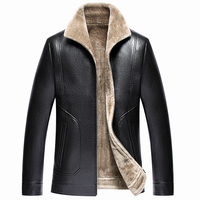 Male Sheep Leather Jackets The New 2017 Middle Aged Men With Thick Fur Coat Men S