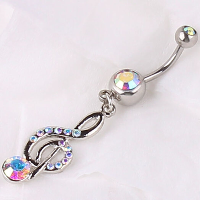 Buy rainbow ab rhinestone music note for Belly button jewelry store