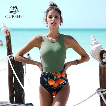 CUPSHE Green Miss U Print One-piece Swimsuit Women Tied Bow Cutout Tank Monokini 2020 Girl Beach Bathing Suit Swimwear 3