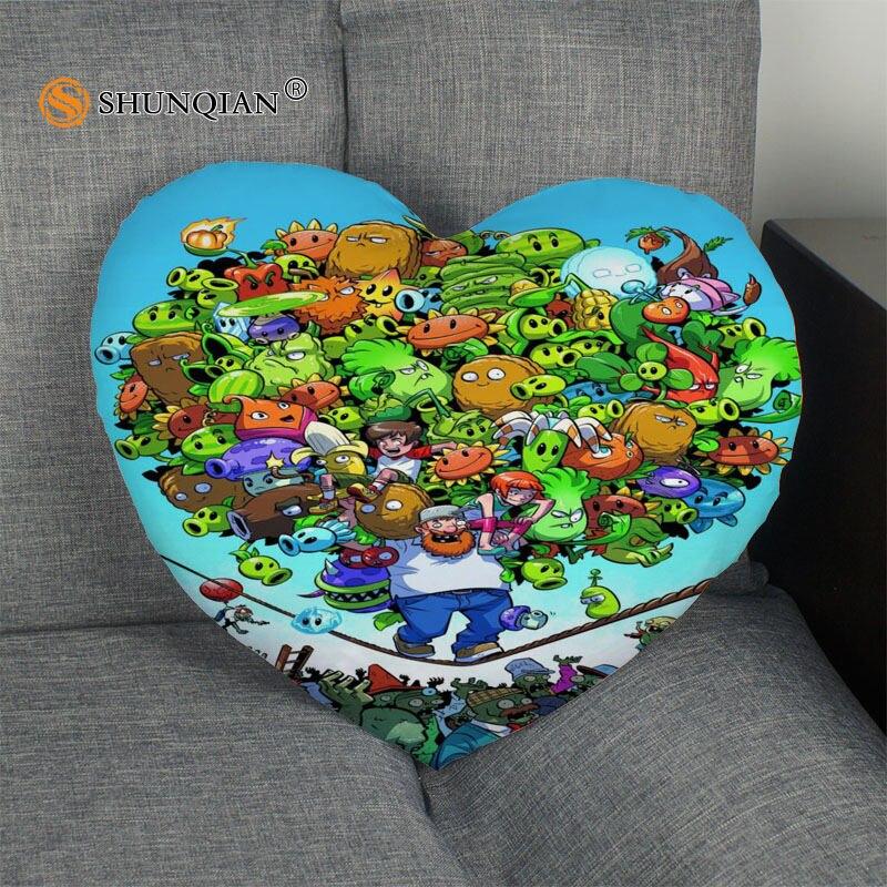 plants vs zombies Heart Shape Pillow Cover Size 41x36cm,47x42cm 2017 New arrival Custom zipper Pillowcase Cover