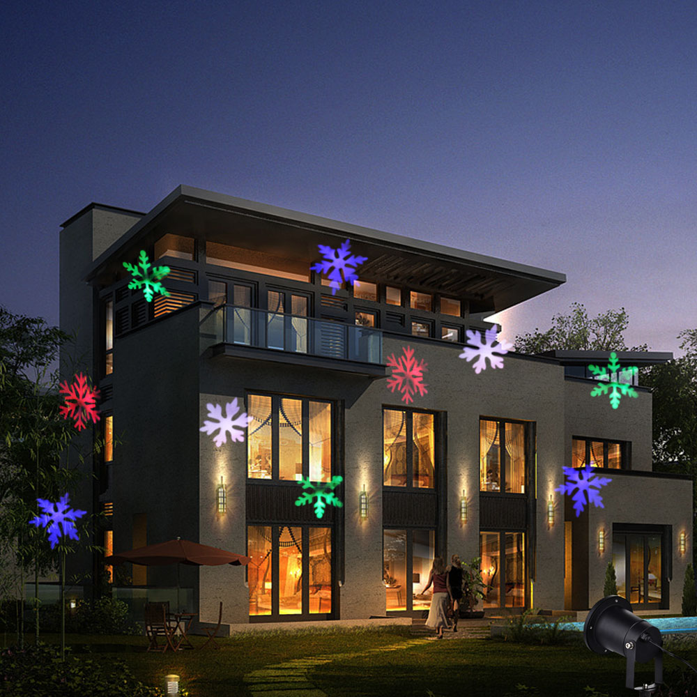 Colorful Snowflake Outdoor Christmas Light Projector Snow Lamps Snowflake LED Stage Light For Party Landscape Light Garden Lamp