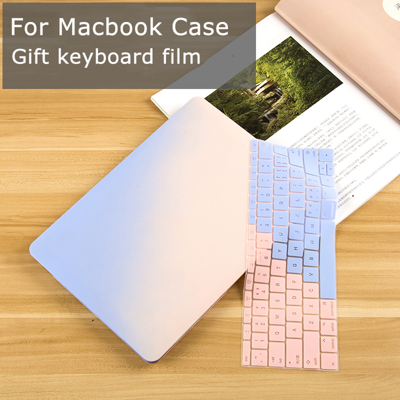New Gradient Matte Hard Case for Macbook Air Pro Retina 11 12 13 15 Laptop Cover for Apple Mac book Air 13 Case Bag with Film premium new matte case for apple macbook air 11 13 inch laptop sleeve for mac book pro 13 15 with retina keyboard cover
