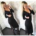 2016 Fashion Women Autumn Winter Dress Sexy Bodycon Dress Casual Solid Long Sleeve V-neck Zippers Midi Dresses Plus Size J6070