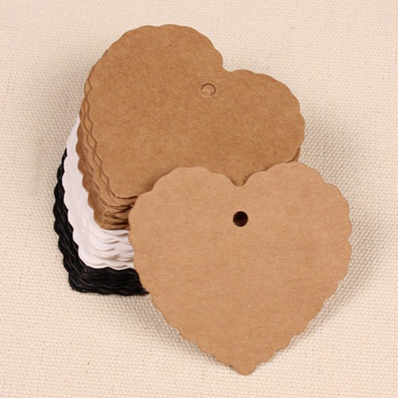 100Pcs/Lot 6x5.5cm Wedding Party Kraft Paper Heart Shaped Lace Blank Clothing Hang Price Tags Gift Paper Tag Cards Party Supply
