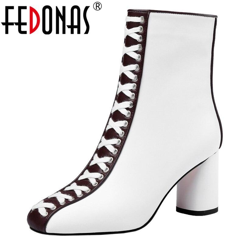 FEDONAS Neue Winter Mode Mischfarben Aus Echtem Leder Frauen Stiefeletten Zipper High Heels Chelsea Stiefel Tanzen Schuhe Frau-in Knöchel-Boots aus Schuhe bei AliExpress - 11.11_Doppel-11Tag der Singles 1