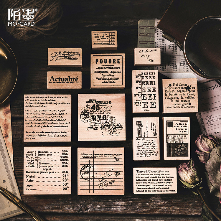 Wooden Rubber Stamps Vintage English Patterns Stamps Set For Diy Craft Card Scrapbooking Supplies