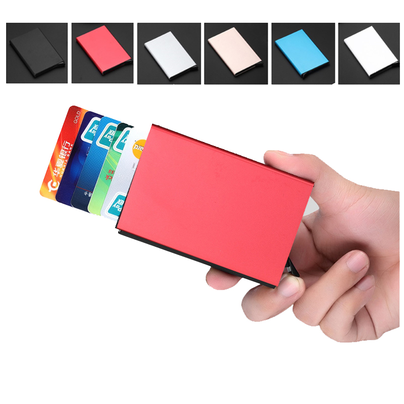 Automatically eject Credit Card Holder Solid Color Metal Bank Credit Card Package Business Card Holder Case Cartridge цены онлайн