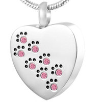 YUEYIN Fashion Heart Pet Keepsake Jewelry 8-Crystal Paw Print Cremation Jewelry Ash Urn Pendant for Men Ms Heart-shaped Necklace