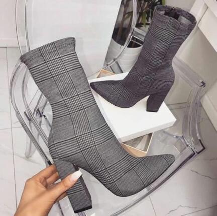 35 42 plus size damskie buty na wysokim obcasie buty moda kratę wskazał palec u nogi grube szpilki buty jesień casual dress botki 10cm obcasy w Buty do kostki od Buty na  Grupa 1