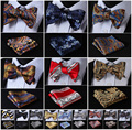 Floral Paisley Striped Silk Jacquard Woven Men Butterfly Self Bow Tie BowTie Pocket Square Handkerchief Hanky Suit Set G6
