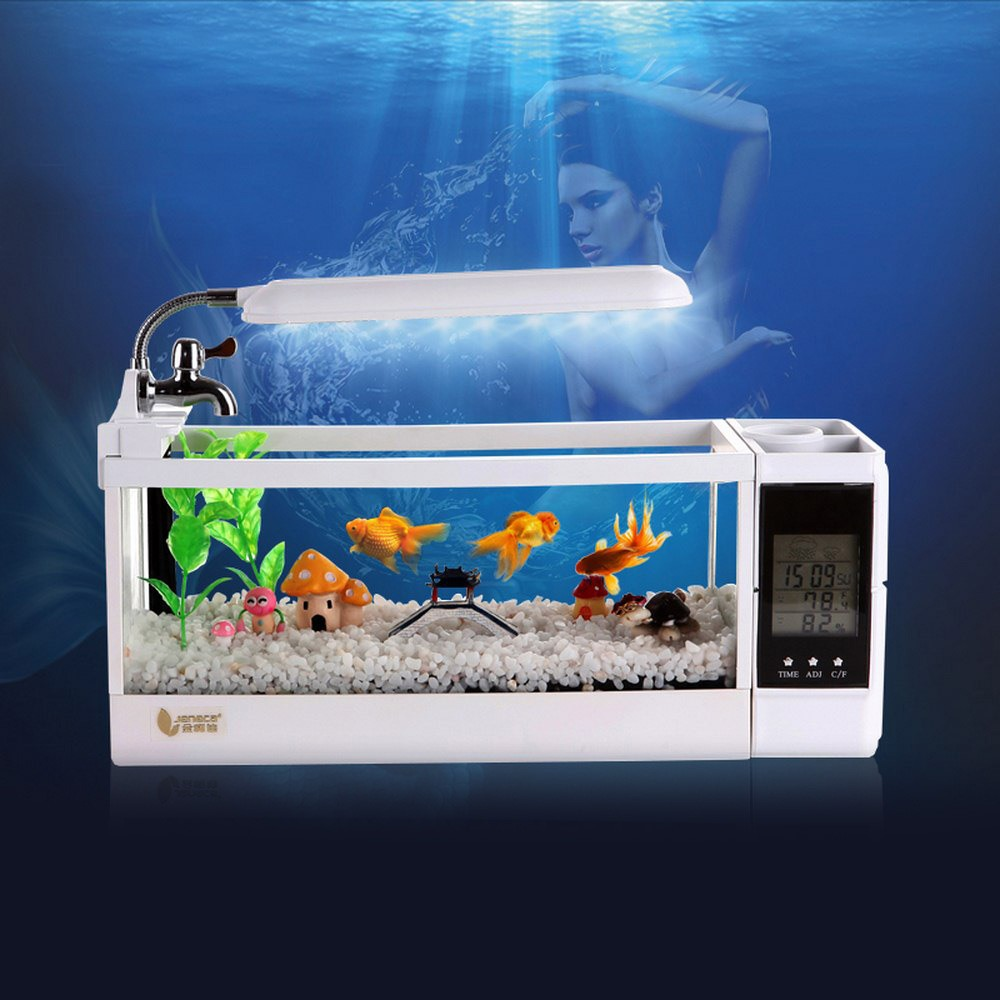 Mini Aquarium Aquarium Aquarium USB avec écran d'affichage à cristaux liquides de lumière de lampe à LED et horloge Aquarium de bureau Aquarium réservoirs de poissons 220V