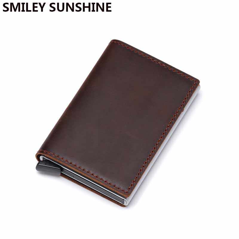 本革スリムミニ男性財布 rfid カードホルダー薄型スマート財布メタル男性ショート walet マネーバッグ vallet portemonnee