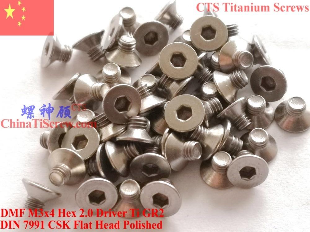 DIN 7991 титановый винт M3x4 M3x5 M3x6 M3x8 M3x10 M3x12 M3x14 плоская головка Hex 2,0 драйвер Ti GR2 полированный 25 шт.