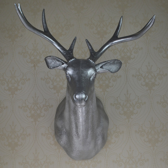 Full Size Wall Mounted Buck Bust Silver Deer Head Trophy Art Plaque Hunt Sculpture