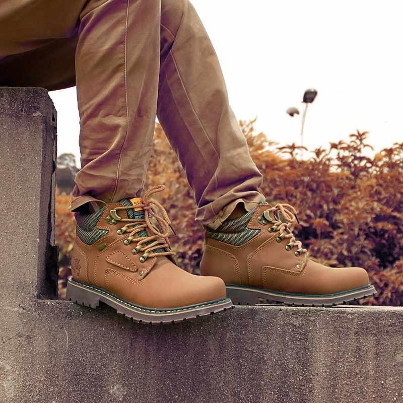 Нестираемая рабочая обувь, защитные ботинки, защитная обувь для мужчин, золотисто-желтая рабочая обувь для мужчин, противоскользящие мужские дезерты