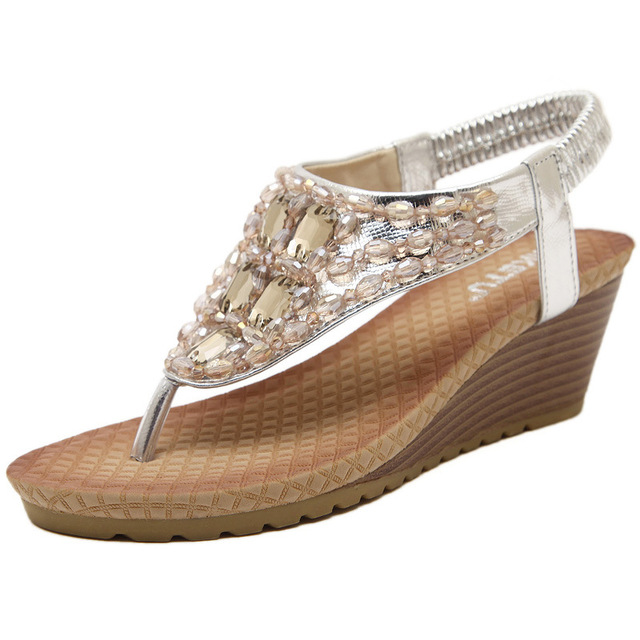 66a11325591c4 New Women Wedge Sandal Bling Bling Rhinestone Flip Flops Casual Silver Gold  Platform Sandals All-match Shoes Woman Size 34-40