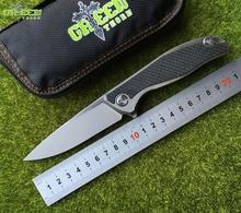 лучшая цена Green thorn 95 Flipper folding knife M390 blade TC4 Titanium CF 3D handle outdoor camping hunting pocket fruit Knives EDC tools