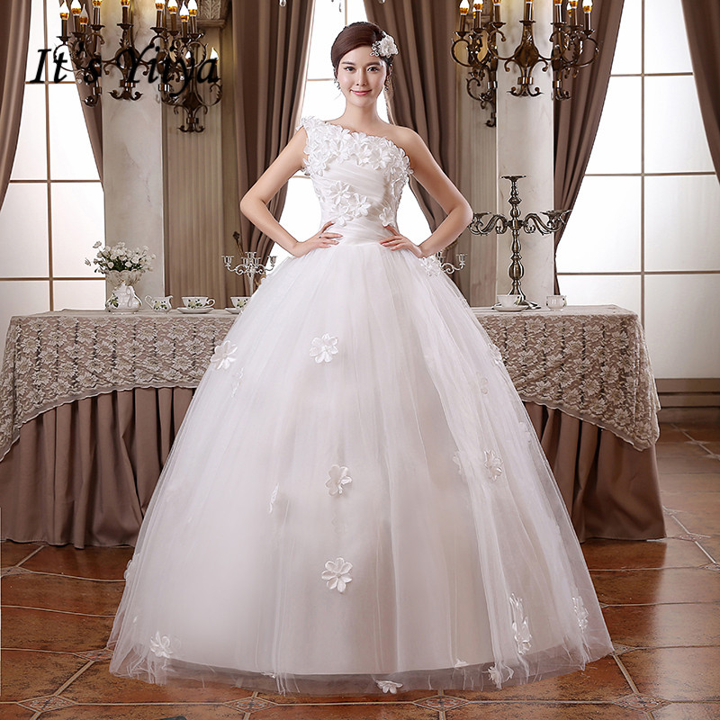 It's YiiYa Wedding Dress White One Shoulder Sleeveless wedding dresses Appliques Flowers Lace Up Princess Bridal Ball Gown HS100