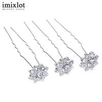 Imixlot 20pcs Elegant Bridal Wedding Crystal Flower Hair Pins Clips Handmade Bridesmaid Bridal Jewelry Hair Accessories