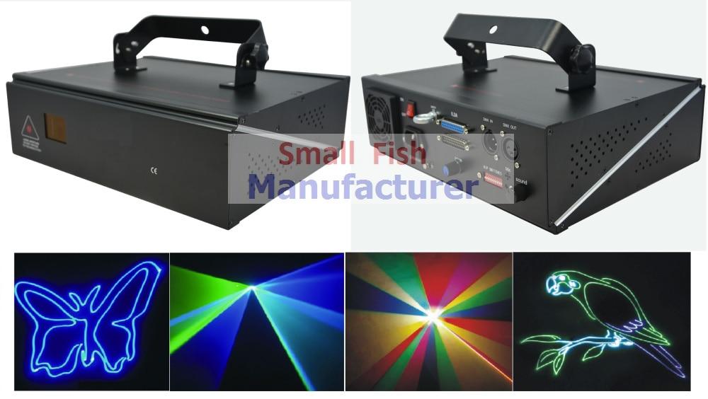 2x Hot Sale 1W Laser Light RGB Full Color Animation Beam Stage Effect Lighting DMX+ILDA+2D Disco DJ Cartoon Strobe Party Lights
