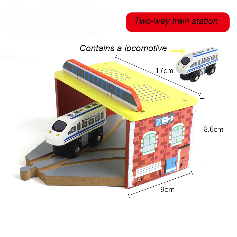 Thomas Wooden Train Track Railway Accessories Toy Two-way train station a locomotive