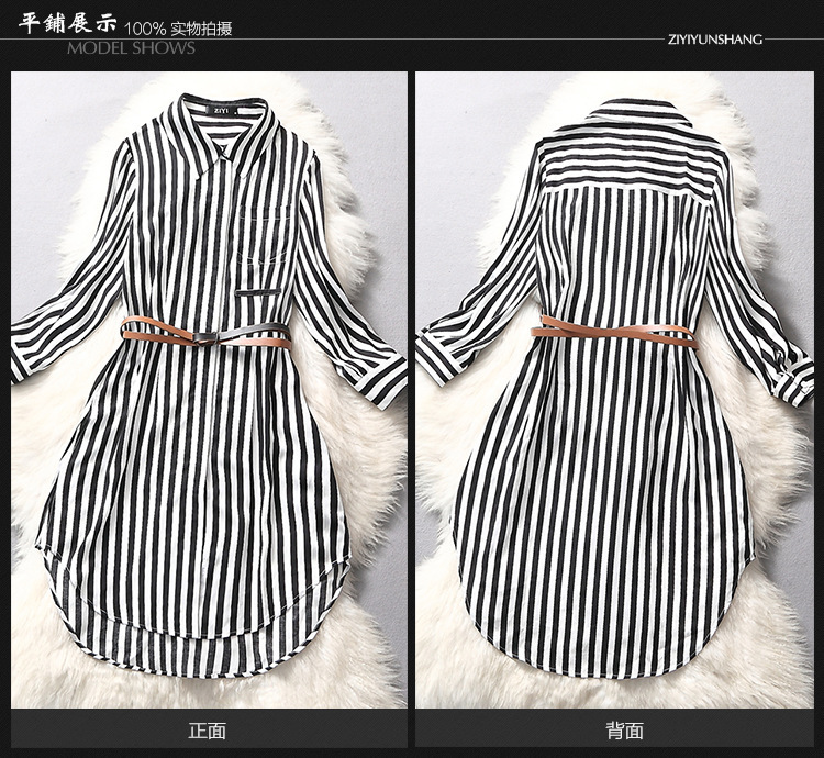 1538af570d5f Women T shirt Dress 2015 Summer Black White striped three quarter Sleeve  Silk Blouse Silk fibers Irregular Short Dresses A22-in Dresses from Women's  ...