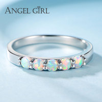 Angel Girl Round Opal Ring Female 925 Sterling Silver Love Ring Brand Jewelry Women Cute Christmas