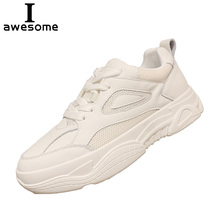 Купить с кэшбэком 2018 New Fashion Women Sneakers Trainers Genuine Leather Breathable Shoes Women Women Flat Shoes Casual Shoes Zapatos Mujer