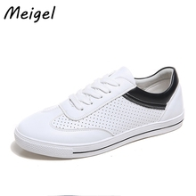 Meigel Новое поступление 2017 года женские дамские туфли на плоской подошве для учащихся белый черные туфли на шнуровке открытые дышащие и Мягкая обувь 408