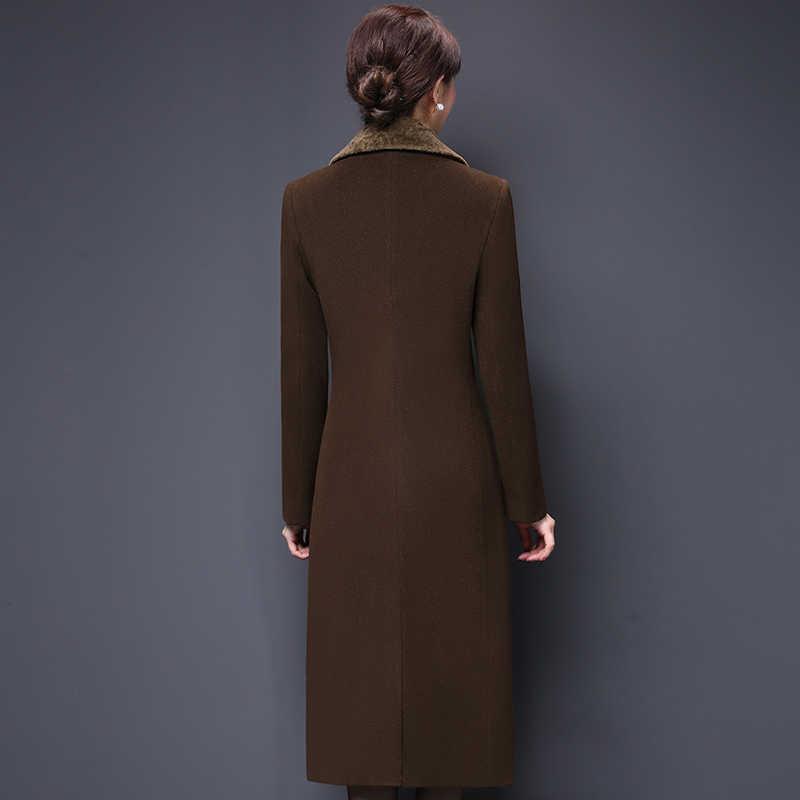 M-5XL Nieuwe Vrouwen Wol Combineert Jas Winter 2019 Mode Moeder Dikker Kasjmier Kraag Lange Jas Warm Slim Tops Bovenkleding Vrouwelijke