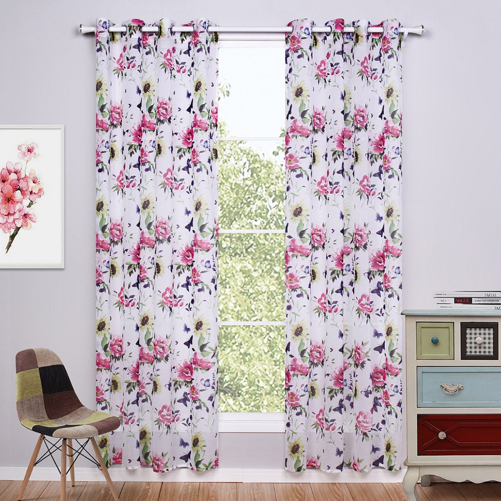 Chinese curtains printed floral window curtains living for Fabrics for children s curtains