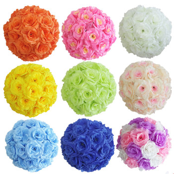 """20 Colors High Quality Wedding Decoration Centerpieces Kissing Ball Artificial Silk Rose Flower Ball Hanging Ornament 16""""(40cm)"""