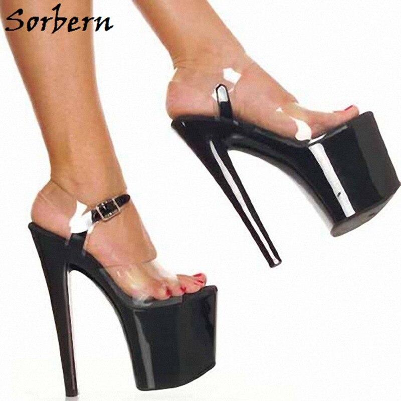Chaussures Bride De À Designer Cheville forme Personnalisé Dames La Petits Ouvert Transparent Heels Couleur Femmes Talons Plate Bout D'été Black Sorbern Sandales X8ZUOaw
