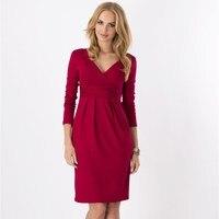 גבירותיי משרד עבודת בנות V-צוואר אלגנטי שרוול ארוך קפלים Slim שמלת מסיבת היפ חבילת Bodycon Vestidos פלוס גדול 8 צבעים גודל