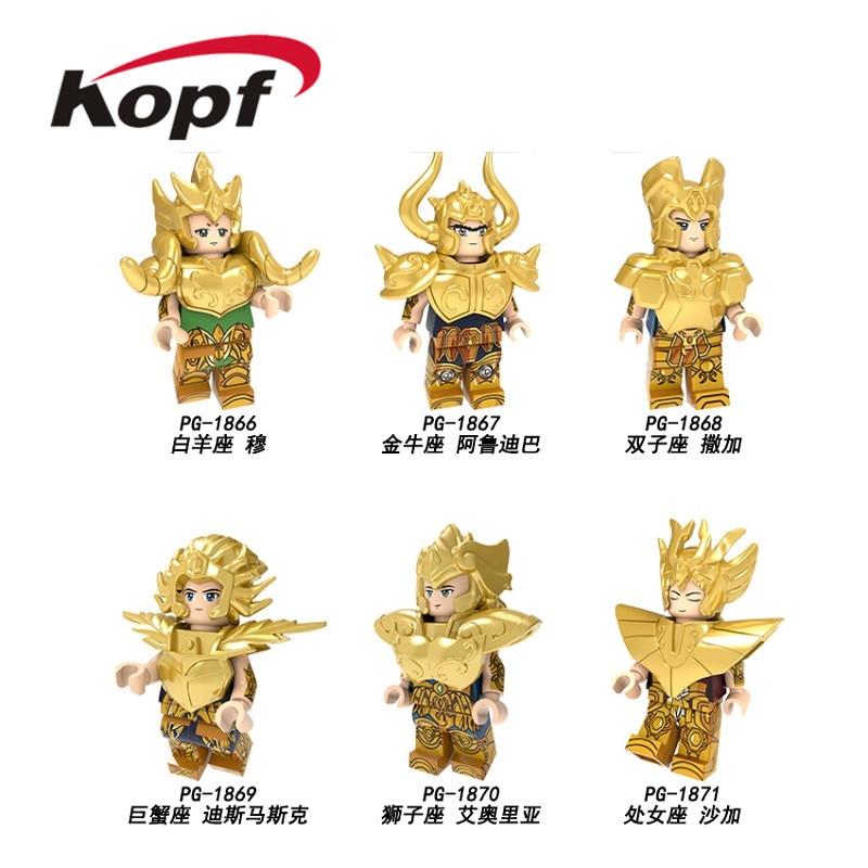 Saint Seiya Building Blocks Twelve Constellations Aries Taurus Gemini Cancer Action Figures For Children Toys PG8212