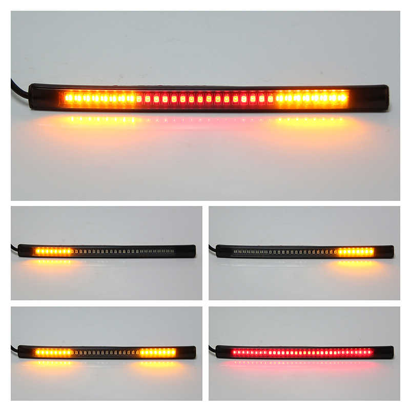 48LED Flexible Motorcycle License Plate Light Red And Amber Tail Brake Stop Turn Signal Lamp With 50CM Cable Wire