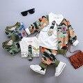 Virgens terno das crianças dos miúdos roupas de algodão padrão de camuflagem roupas Três-pedaço definir a roupa do bebê meninos e meninas conjuntos de roupas