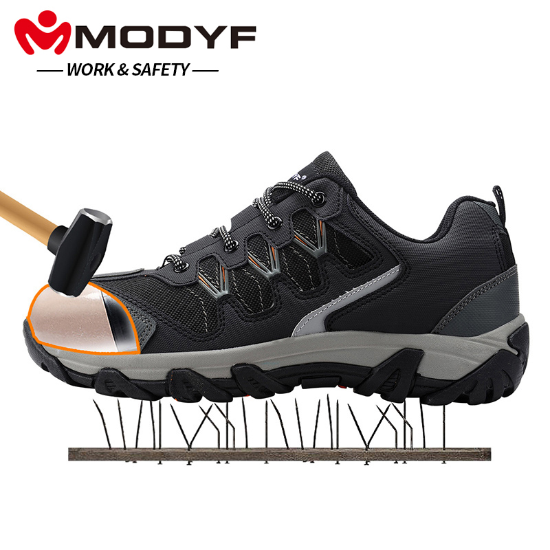 MODYF Men Steel Toe Cap Work Safety Shoes Casual Reflective Breathable Outdoor Sneaker Boots Puncture Proof Protection Footwear