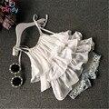 2016 Летний Корейский детская одежда девочек костюм Шифон торт слинг + брюки 2 шт. жемчужина цветок короткий топ джинсовые шорты дети набор