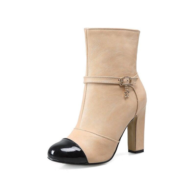 new 2016 big size boots high heels mixed color